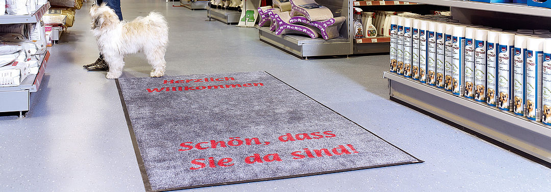 Printed doormats for supermarkets