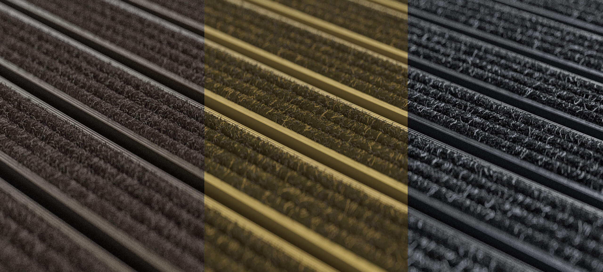 Coloured dirt-collection runners for theatres and cinemas