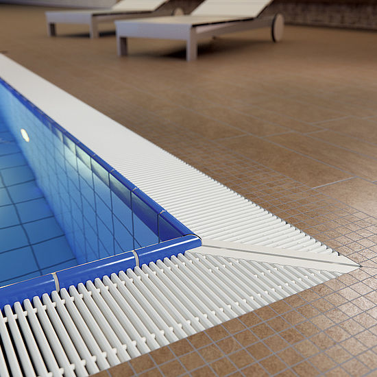 emco swimming pool grates Mitred corner solution Typ 45